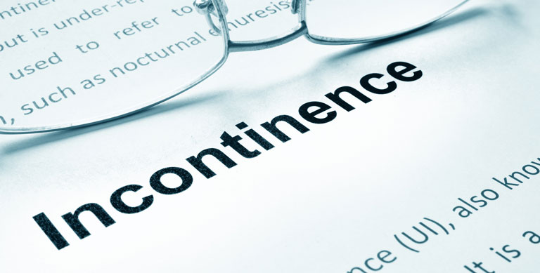 Incontinence sign on a paper and glasses