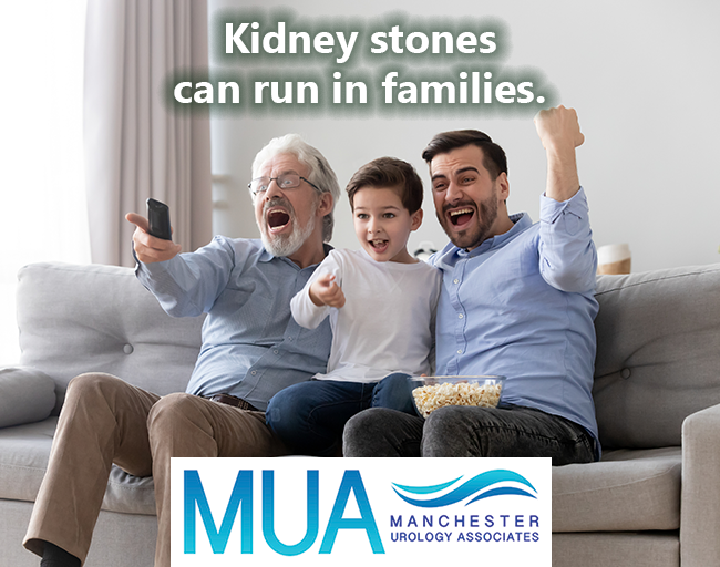 Kidney stones can run in families. Photo of three males—child, middle aged, and elderly—cheering in reaction to TV